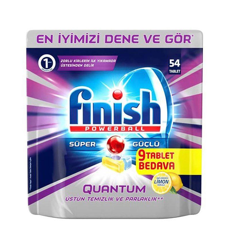 قرص ماشین ظرفشویی 54تایی فینیش مدل FINISH Quantum Powerball Lemon